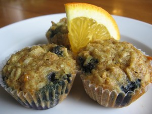 Oatmeal, Blueberry and Orange Muffins